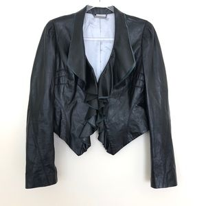 Diane Von Furstenberg 100% Ruffled Leather Jacket